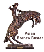 Picture of a reproduction of Frederic Remington Bronco Buster imported from Asia