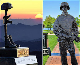 Fallen Soldier battlefield cross and Battle Cross and other Veteran Memorial statues by Richard Rist