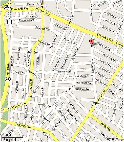 Click on map for directions to The Large Art Company...