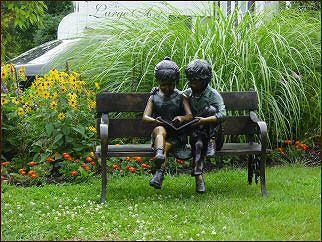Bronze Outdoor Children Statue Garden Sculpture Of Two